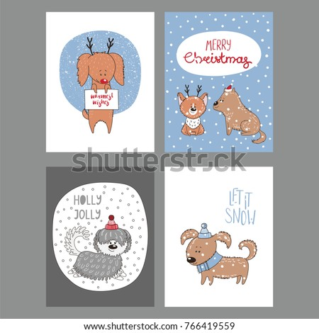 Set of hand drawn winter holidays greeting cards templates with cute ...