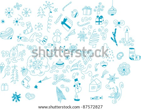 Set of hand-drawn winter shapes