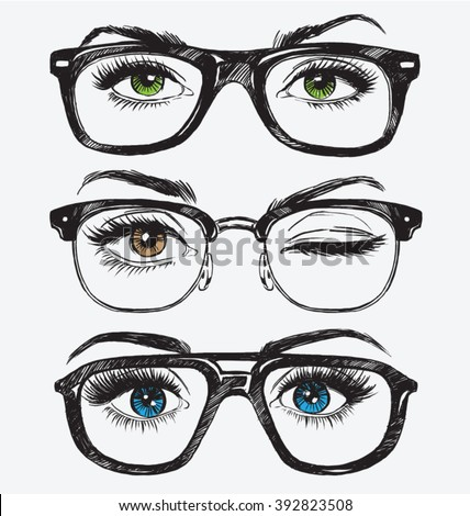 set of hand drawn women's eyes