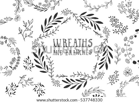 Set of hand drawn wreaths. Vector.