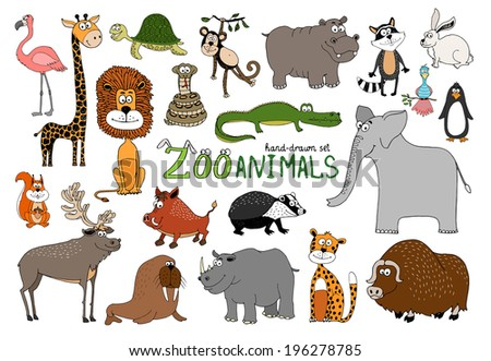 set of hand drawn zoo animals