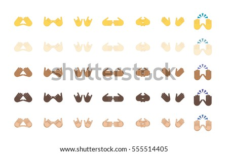 Set of hand emoticon vector isolated on white background. Gestures emoji vector. Smile icon set. Emoticon icon web. Open palm gesture. #555514405