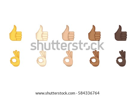 Set of hand emoticon vector isolated on white background. Gestures emoji vector. Smile icon set. Emoticon icon web. Thumbs up and ok  gesture.