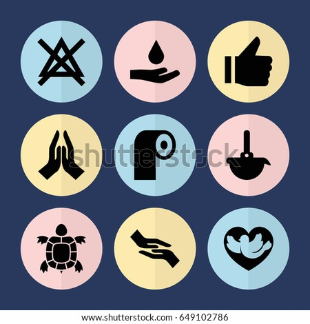 set of 9 hand filled icons such