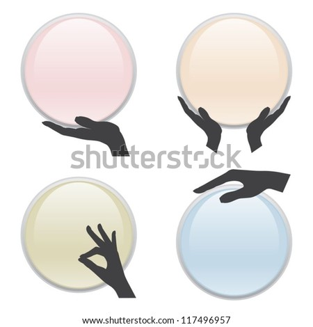 Set of hand holding circle card in pastel - stock vector