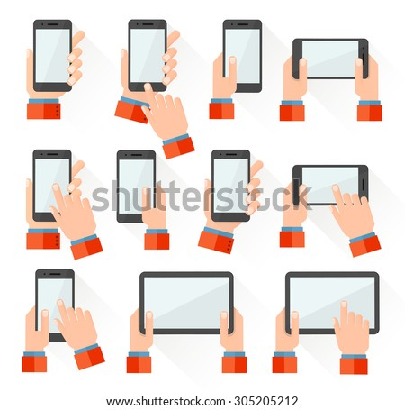 Set of hand holding smart phone and tablet touch computer gadget. Flat style icons. Vector illustration