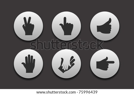 Set of Hand Icons graphics for web design collections.