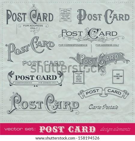 set of hand-lettered calligraphic elements for postcard backs