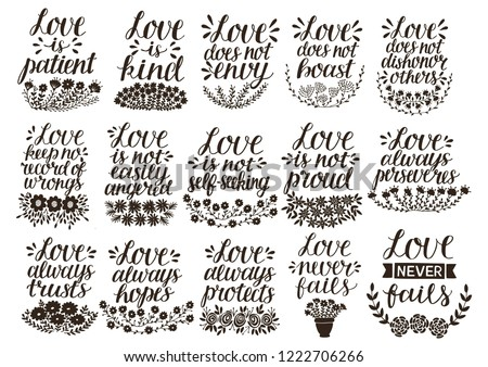 Set of 15 hand lettering quotes about love from Corinthians . Card. Biblical background. Christian poster. Modern calligraphy. Expression of feelings. Scripture print