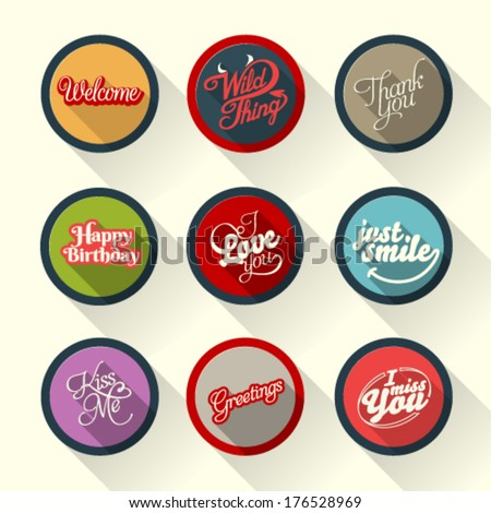 Set of hand lettering retro cards and vector labels with logos for web and print