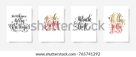 set of 4 hand lettering vector