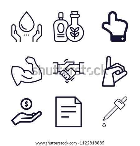 Set of 9 hand outline icons such as muscle, hand pointing upward, handshake, document, sign language, essential oil, oil, donation