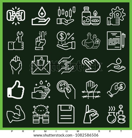 set of 25 hand outline icons