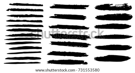Set of Hand Painted Brush Strokes.Vector Grunge Brushes. Dirty Artistic Design Elements. Creative Design Elements. Perfect For Logo, Banner, Icon. #731553580