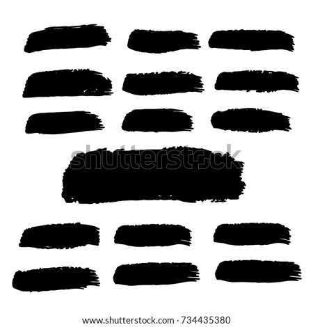 Set of Hand Painted Brush Strokes.Vector Grunge Brushes. Dirty Artistic Design Elements. Creative Design Elements. Perfect For Logo, Banner, Icon. #734435380