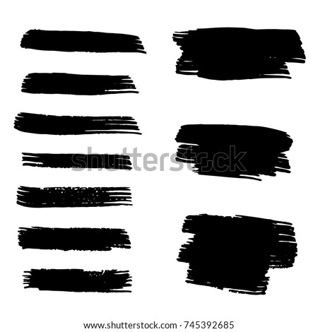 Set of Hand Painted Brush Strokes.Vector Grunge Brushes. Dirty Artistic Design Elements. Creative Design Elements. Perfect For Logo, Banner, Icon.