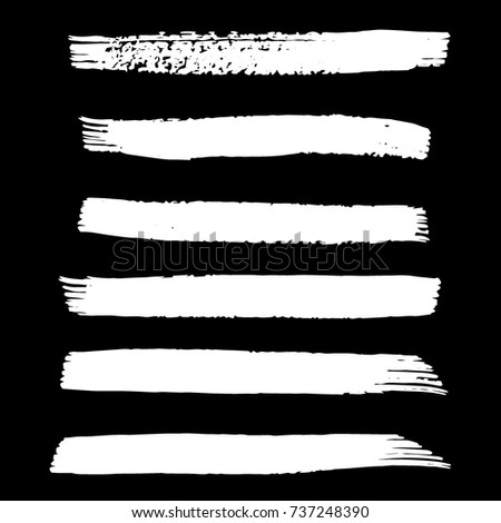 Set of Hand Painted White Brush Strokes. Vector Grunge Brushes. Dirty Artistic Design Elements. Creative Design Elements. Perfect For Logo, Icon, Banner. #737248390