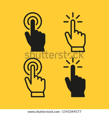 Set of hand pointer or cursor mouse push linear icon symbol Foto d'archivio ©