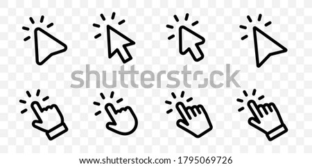 Set of Hand pointer symbol in trendy flat style. Computer mouse click cursor in transparent background. Click cursor collection. Clicking finger. Hand pointer icon. Cursor