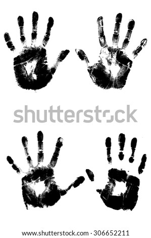 set of hand prints isolated on