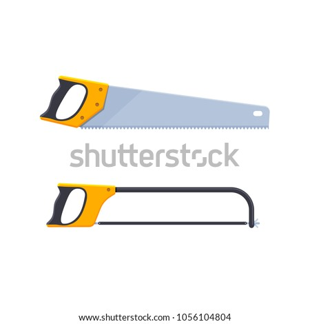 Set of hand saws designed for wood, and saws for metal. Tools carpenter, for repair, construction, woodworking, sawing on a part of wooden structures and products. Vector illustration isolated.