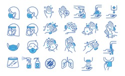 Set of hand washing icons in thin line style. Hygiene icons. The icons as hand wash, soap, alcohol, detergent, anti bacterial and mask. Vector illustrations.