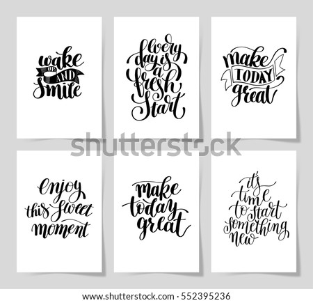set of 6 hand written lettering