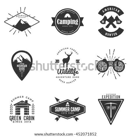 set of handdrawn adventure logo ...