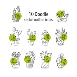Set of 10 handdrawn doodle icons of cactus vases. Cactus succulents vector illustrations.