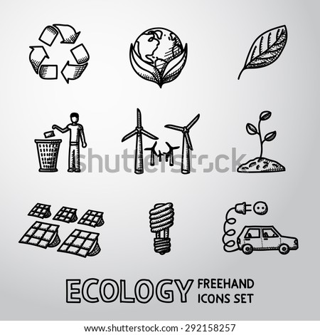 set of handdrawn ecology icons