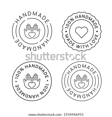 Set of Handmade Emblem Linear Icons. Made with Love label badges vector design. Handcraft signs. Stockfoto ©