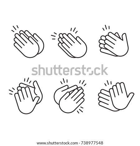 Set Of Hands Clapping Vector In Outline Style