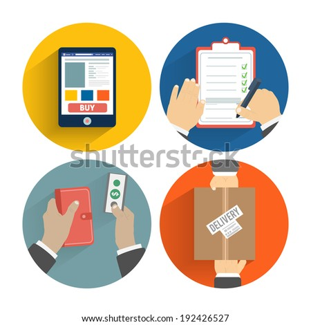 Set of hands clients purchasing. Order of the goods online, payment and delivery. Business concept