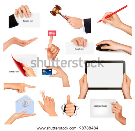set of hands holding different