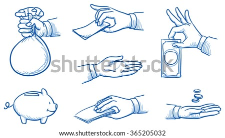 set of hands holding money