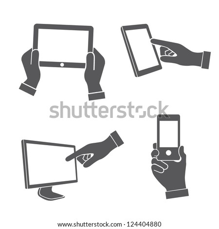 set of hands holding smart phone, pointing on smart phone tablet, electronic device