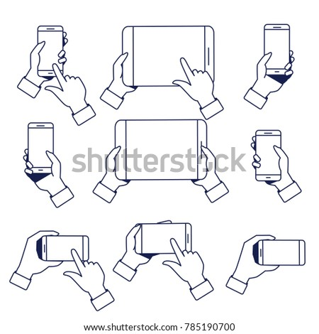Set of hands holding smartphone and tablet
