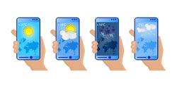 Set of hands holding smartphone with weather app, cloudy, rainy, snowy and sunny day. Touchscreen device with different seasons, daily temperature and world map.Weather icons.Stock vector illustration
