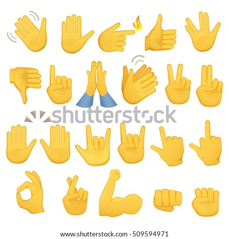 set of hands icons and symbols