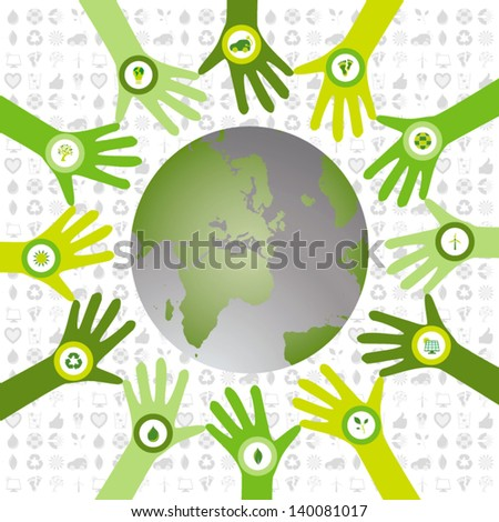 Set of hands in a circle pattern and filled with bio icons waiving to a green environmental and sustainable world