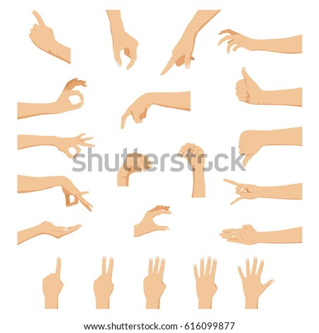 Set of hands in different gestures emotions and signs on white background isolated vector illustration