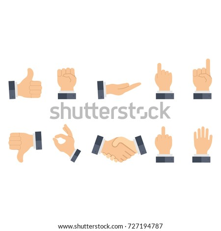Set of hands in different gestures emotions with and sleeve of a jacket. Signs of business gestures on white background isolated. Vector illustration