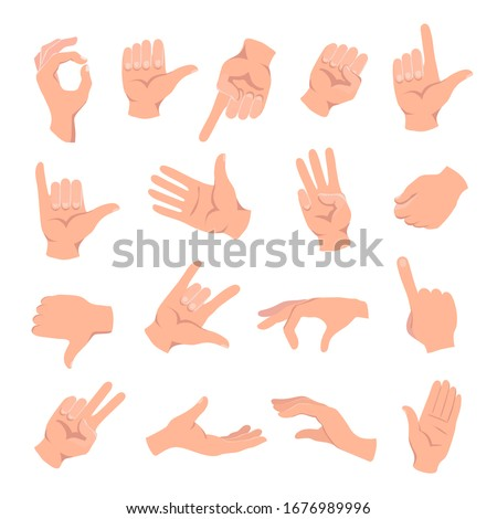 Set of hands in different gestures , hand showing signal or sign collection, on white background isolated vector illustration