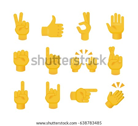 Set of Hands on White Background. Isolated Vector Illustration