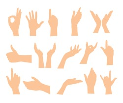 Set of hands showing different gestures isolated on a white background. Vector flat illustration of female and male hands. vector icon illustration