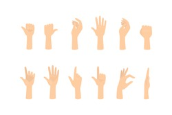 Set of hands showing different gestures. Palm pointing at something. Isolated flat vector illustration