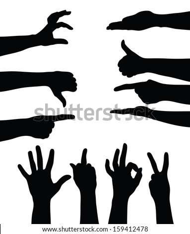 Set of hands silhouettes on white background (Vector illustration)