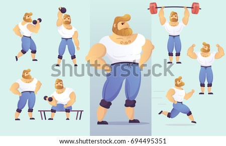 Set of handsome, muscular characters. Vector illustration of strong, athletic posing men bodybuilders with beard.