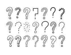 Set of handwritten question marks. Doodle, sketch style. Doodle pictures isolate on white. Vector illustration on white background. Symbols of problem, trouble, confusion. Metaphor question and answer