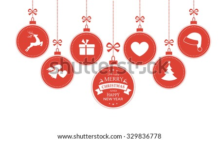 set of 7 hanging christmas